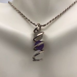 """Sterling Silver Spiral Pools Of Light Necklace 16"""""""